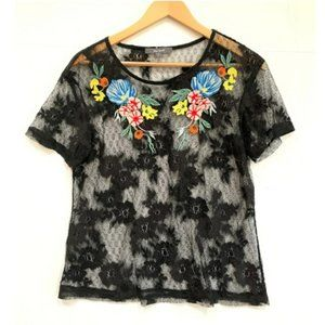New BLUE TASSEL Embroidered Lace Top